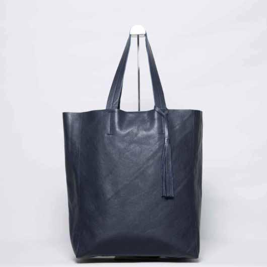 Visuel - Grand Shopper Bag en Cuir Bleu Minuit - ordinari.shop