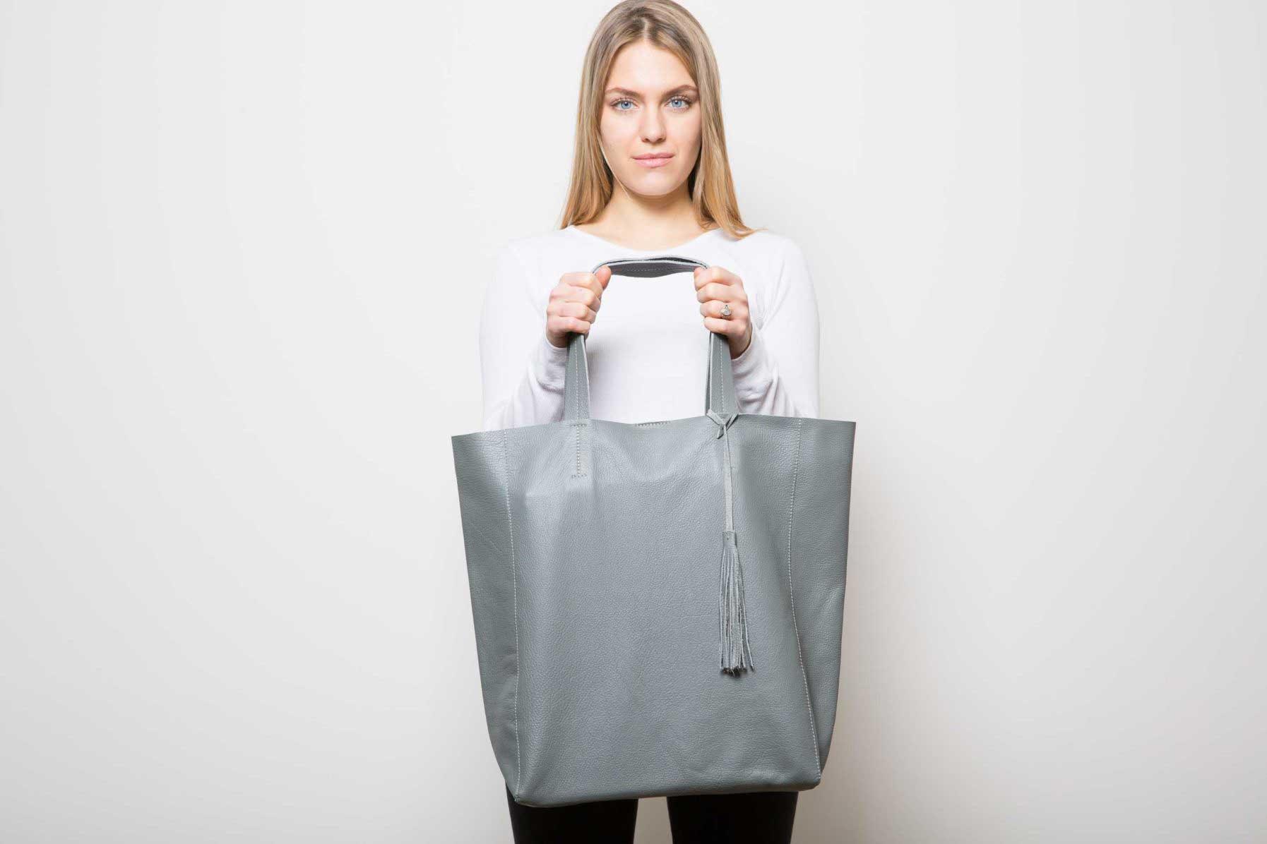 Visuel Sac - Grand Shopper Cuir Gris Ciment - Vue Face - ordinari.shop