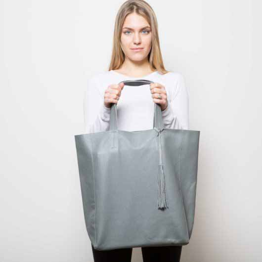 Visuel Sac - Grand Shopper Cuir Gris Ciment - Vue Face - ordinari.shop