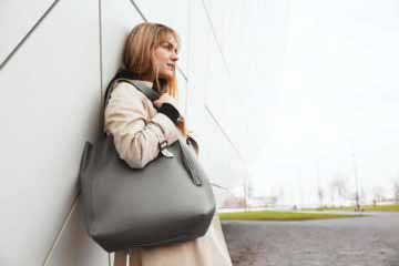 Visuel Sac Grand Shopper Cuir Gris Ciment sans pompon - ordinari.shop