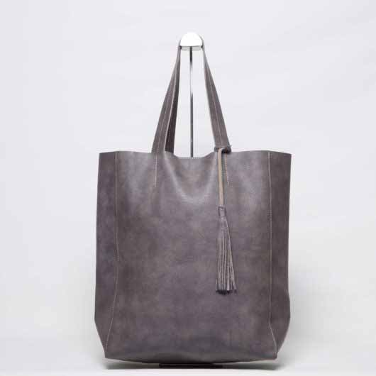 Visuel - Grand Shopper Cuir Gris-Marron avec pompon - ordinari.shop