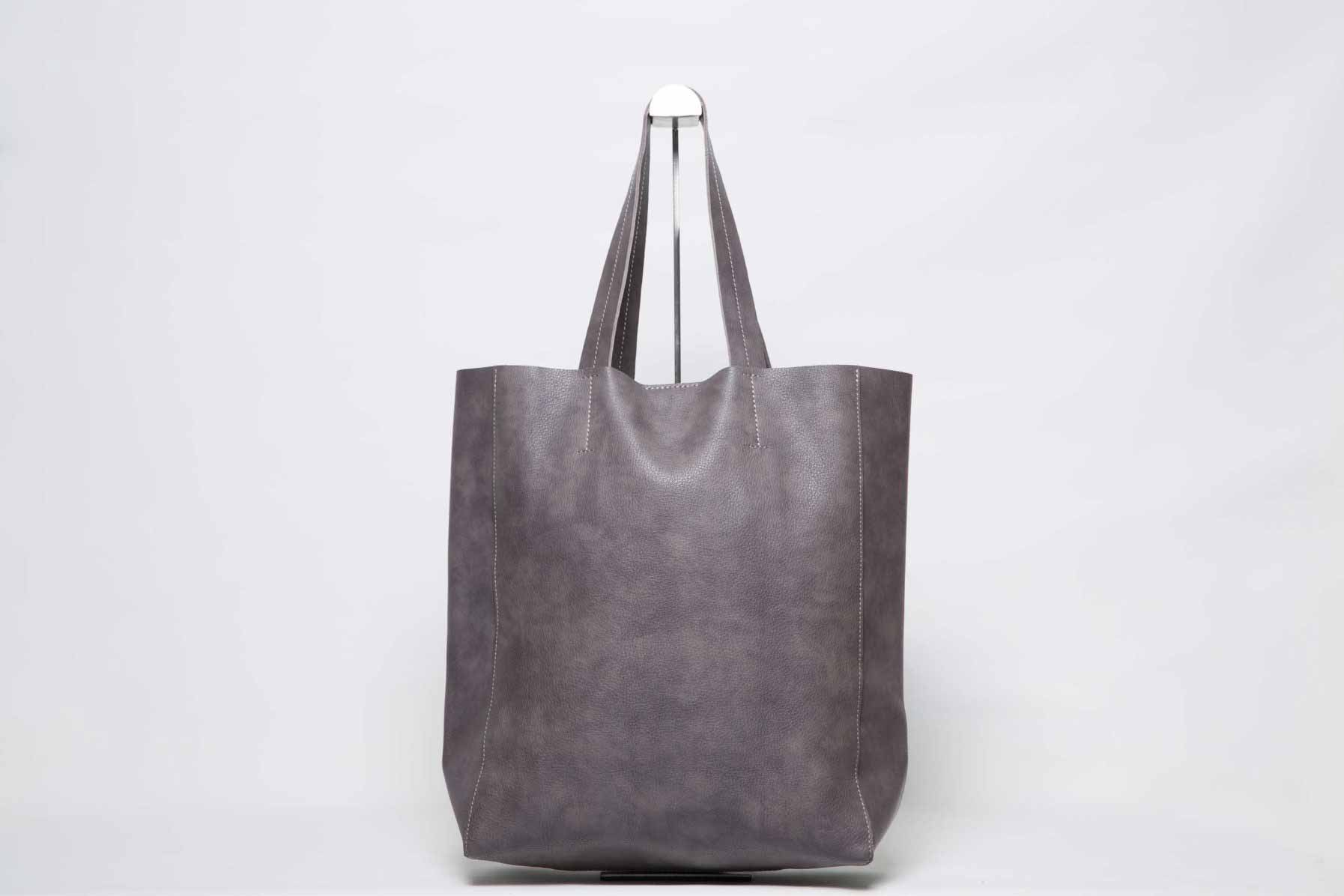 Visuel - Grand Shopper Cuir Gris-Marron sans pompon - ordinari.shop
