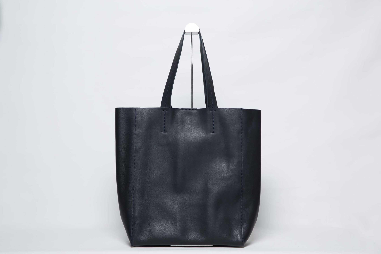 Visuel - Grand Sac Shopper Cuir Bleu Noir - ordinari.shop