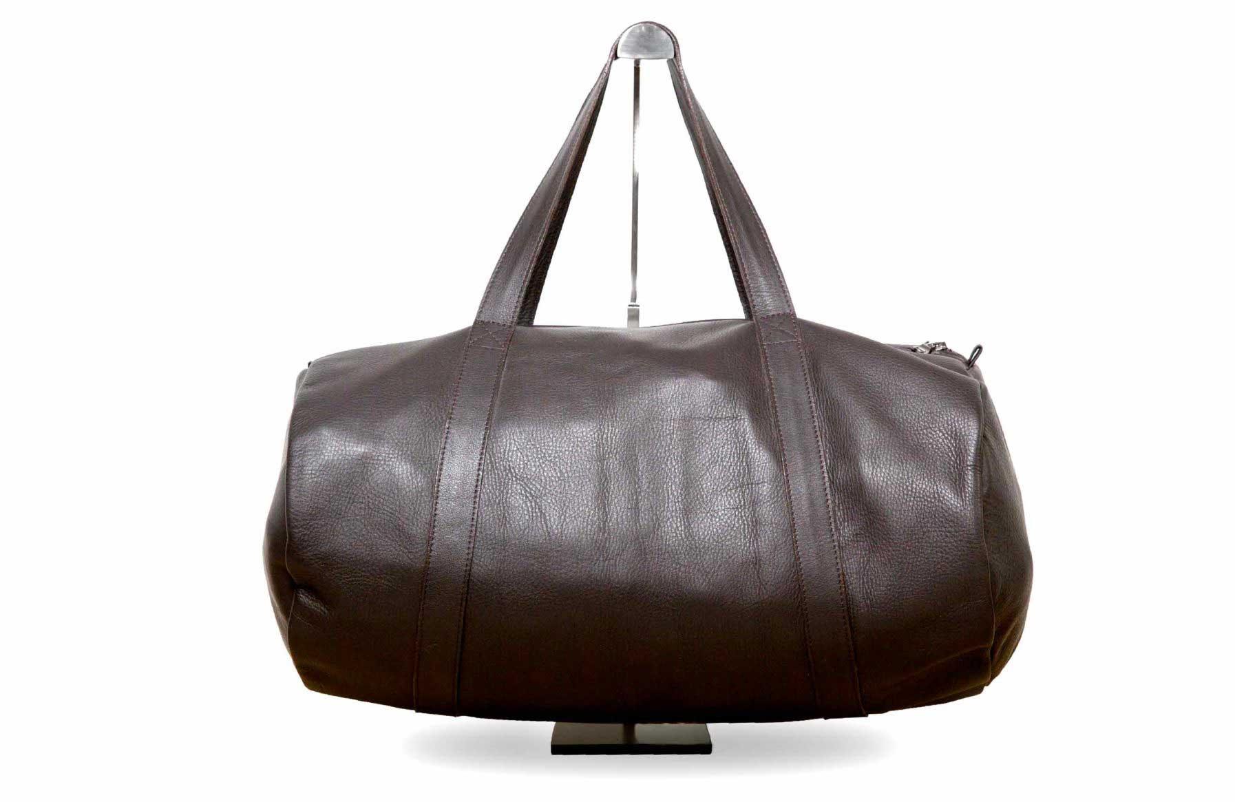 Visuel - Sac polochon -modèle Lenox en cuir marron chocolat - ordinari.shop